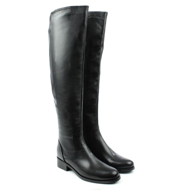 DF By Daniel Langdale Black Leather Flat Over Knee Boot