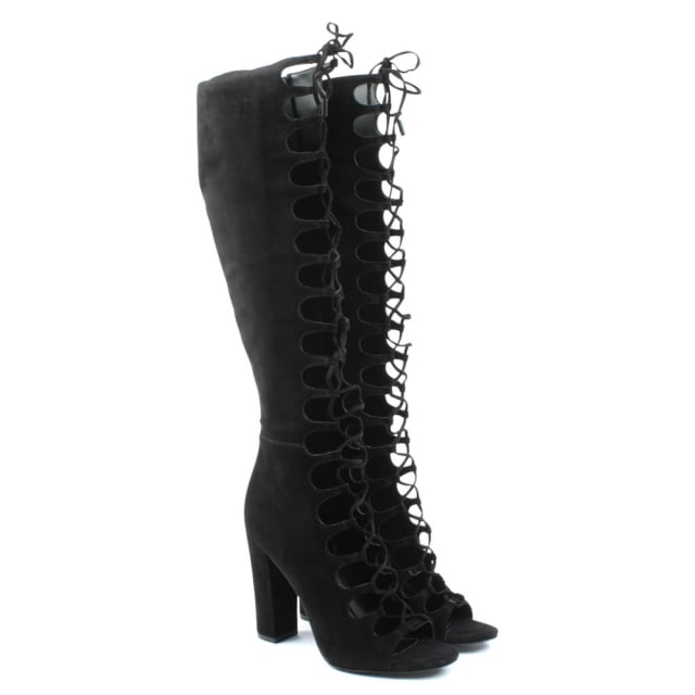 Kendall + Kylie Emma Black Suede Black Heel Lace Gladiator Boot