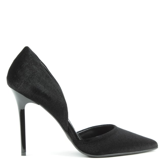Daniel Nicolette Black Velvet Two Part Court Shoe