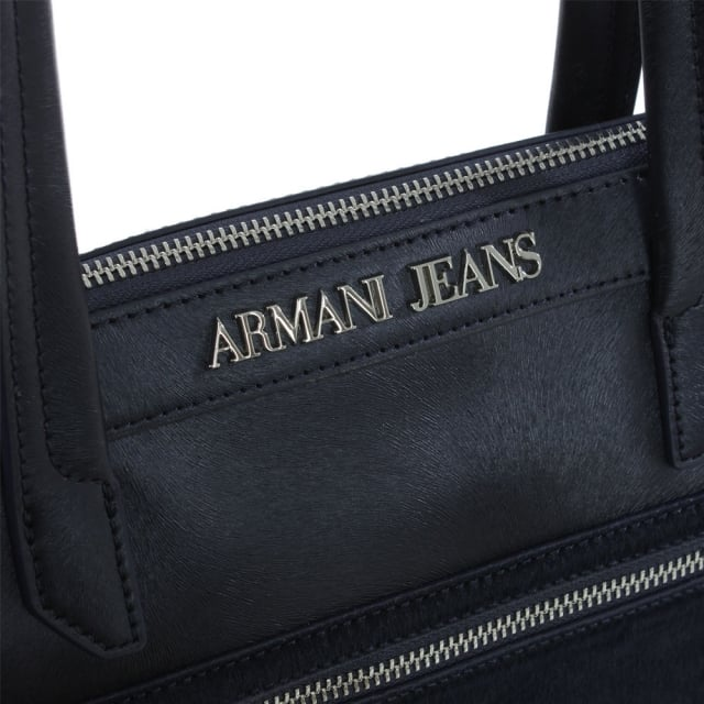 Armani Jeans Pony Hair Front Navy Eco Leather Top Zip Tote Bag