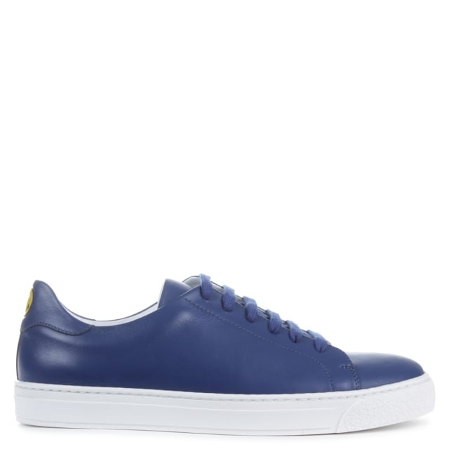 Anya Hindmarch Wink Navy Leather Lace Up Tennis Trainer