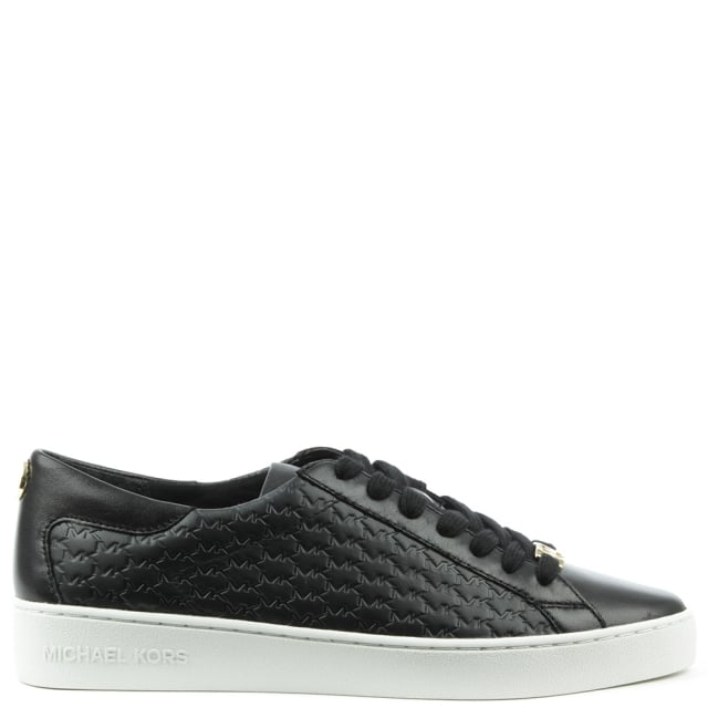 Michael Kors Colby Black Leather Embossed Lace Up Trainer