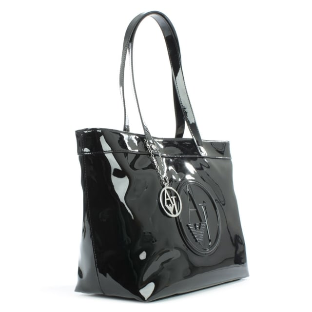 Armani Jeans Top Zip Black Patent Shopper