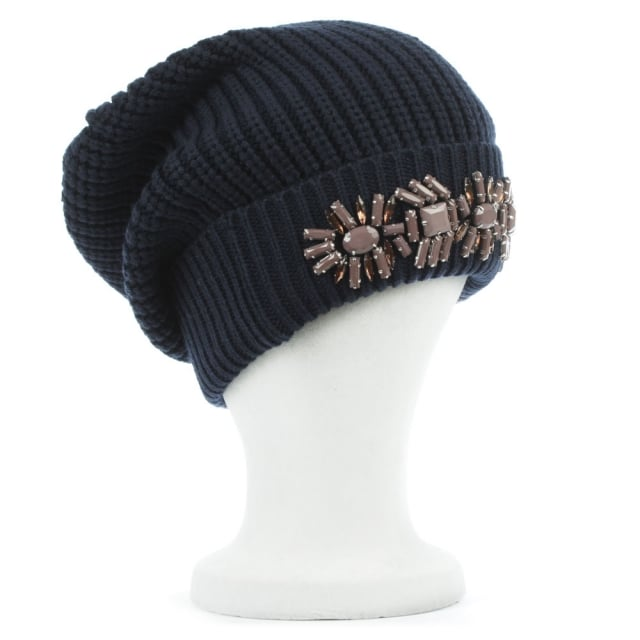 Armani Jeans Jewelled Navy Wool Mix Fold Over Beanie Hat