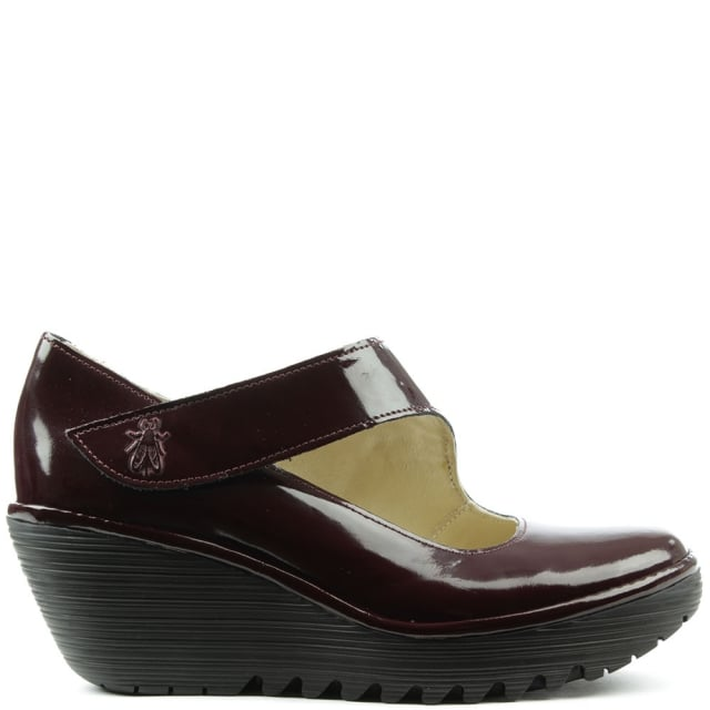 Fly London Yasi Burgundy Patent Leather Mary Jane Wedge Shoe