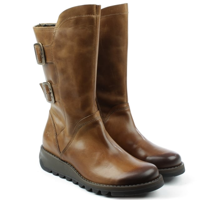 Fly London Sack Tan Leather Low Wedge Calf Boot