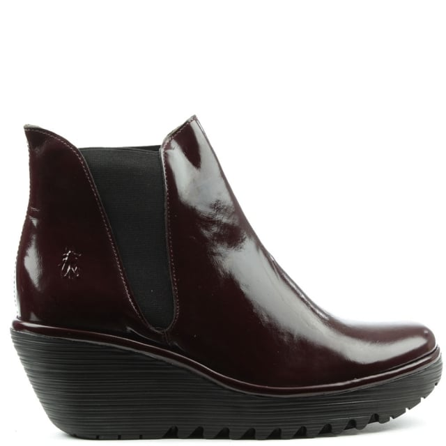 Fly London Woss Burgundy Patent Leather Mid Wedge Chelsea Boot