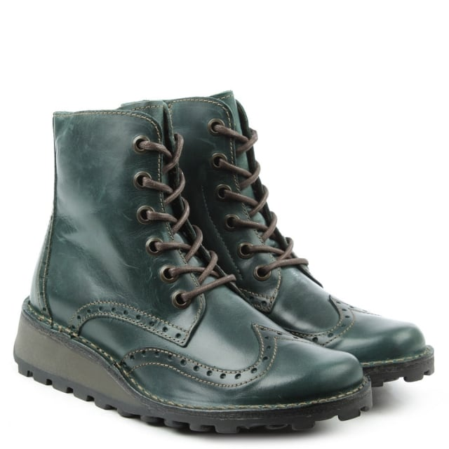 Fly London Marl Green Leather Low Wedge Lace Up Ankle Boot