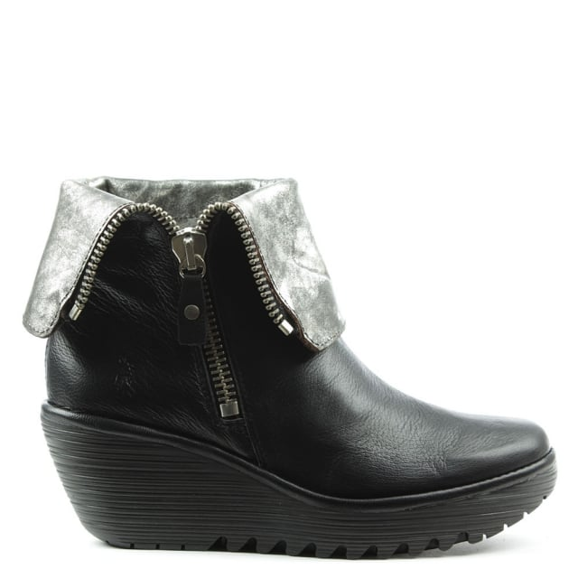 Fly London Yex Black Leather Fold Down Cuff Wedge Ankle Boot