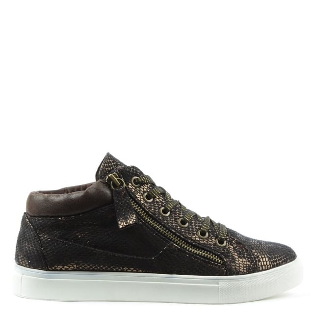 DF By Daniel Hemlock Brown Reptile Sporty High Top Trainer