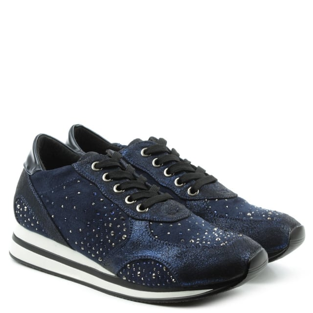DF By Daniel Tanoak Navy Embellished Low Wedge Trainer