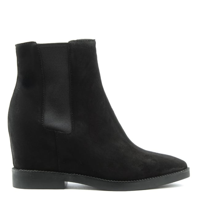 Ash Gong Black Suede Low Wedge Ankle Boots