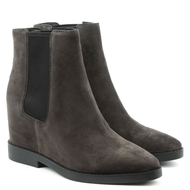 Ash Gong Grey Suede Low Wedge Ankle Boots