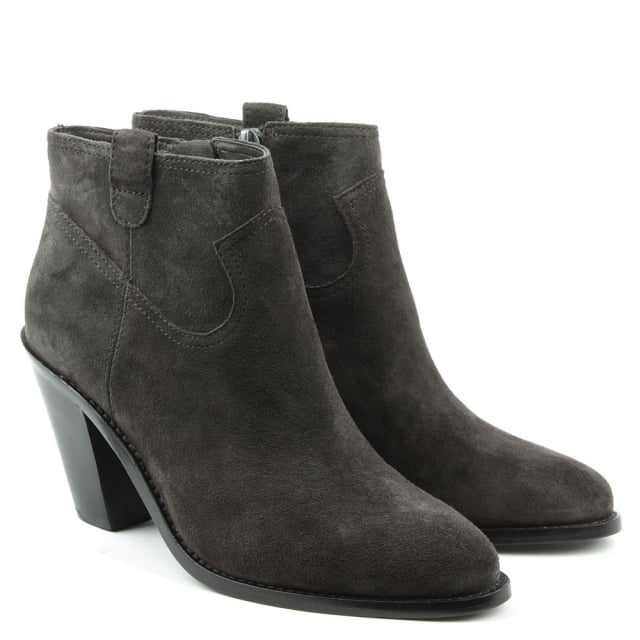 Ash Ivana Grey Suede Cowboy Ankle Boot