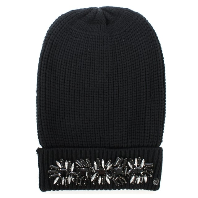 Armani Jeans Jewelled Black Wool Mix Fold Over Beanie Hat