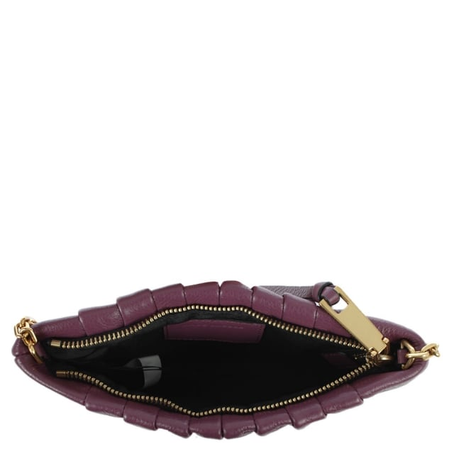 Marc Jacobs Gathered Detail Burgundy Leather Pouch Cross-Body Bag