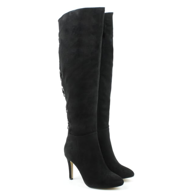 DF By Daniel Priory Black Rivet Back Knee High Boot