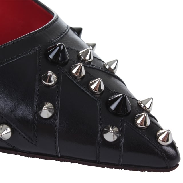 Cesare Paciotti Studded Black Leather Court Shoe