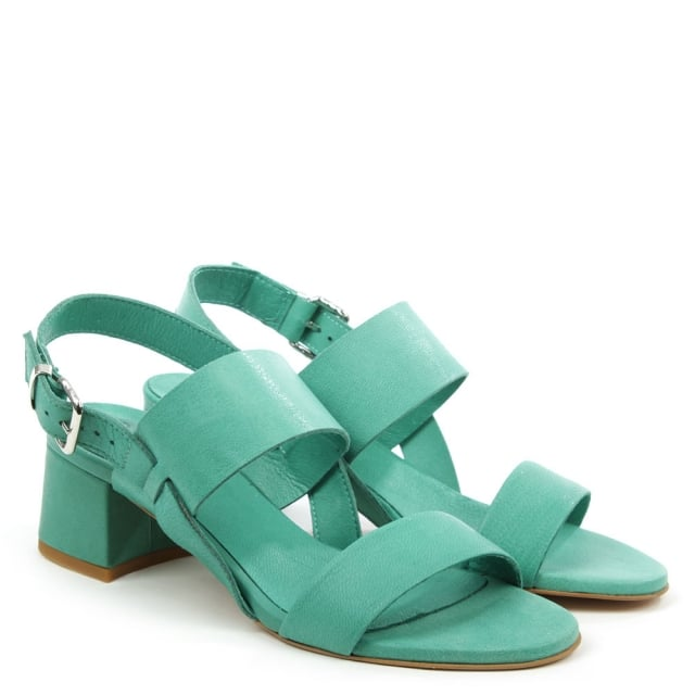Daniel Mori Green Leather Two Bar Block Heel Sandal