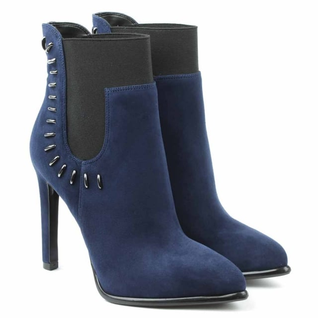 Kendall + Kylie Cassidy Navy Suede Studded Ankle Boot