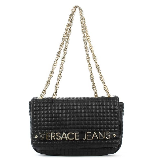 Versace Jeans Manhattan Black Quilted Flapover Shoulder Bag