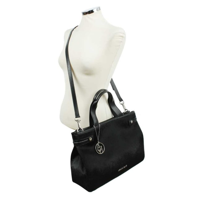 Armani Jeans Eco Pony Hair Black Tote Bag