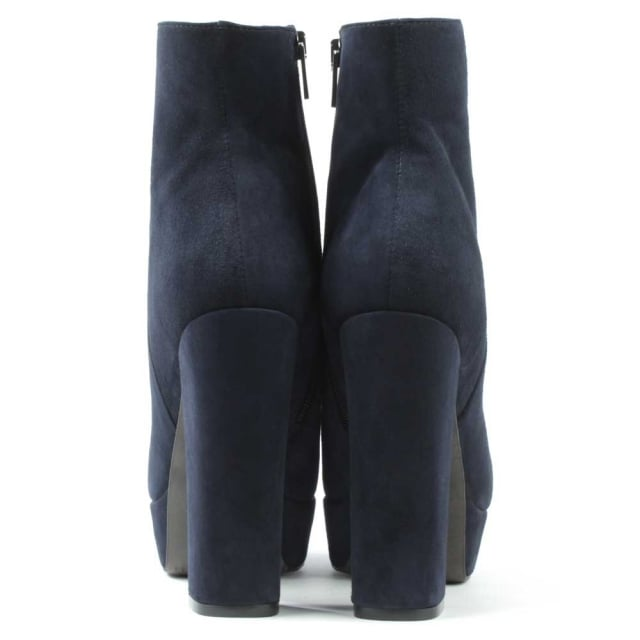 Daniel Gemma Navy Suede High Block Heel Ankle Boot