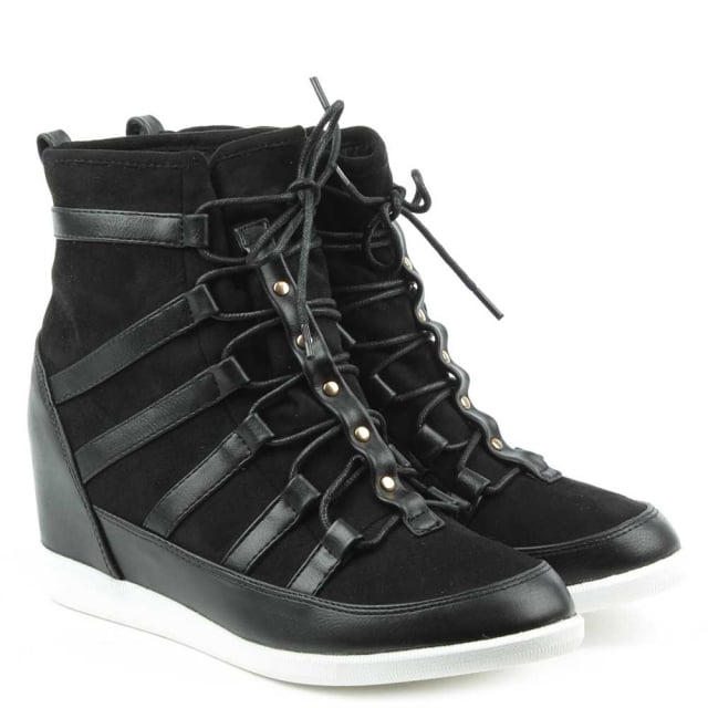 DF By Daniel Woldview Black Sporty Wedge High Top Trainer