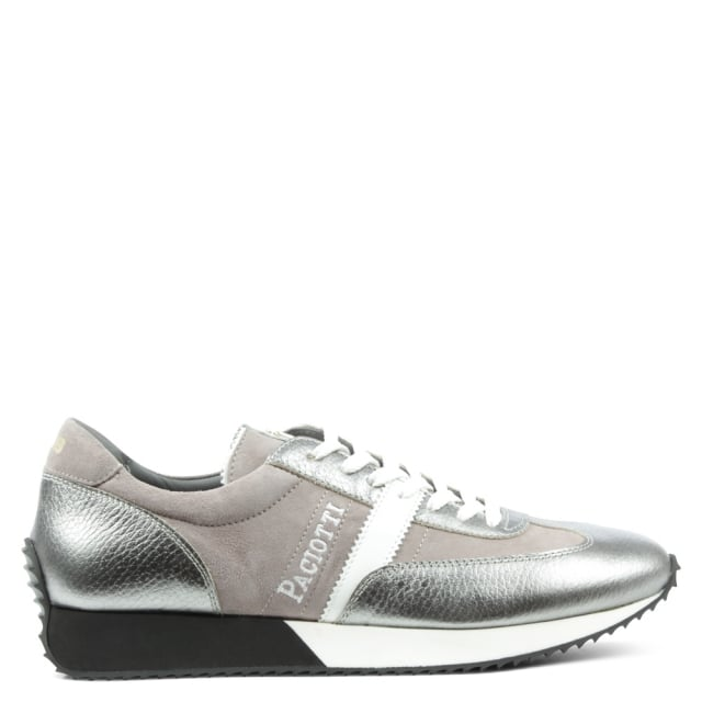 Cesare Paciotti Pewter Leather Lace Up Sporty Trainer
