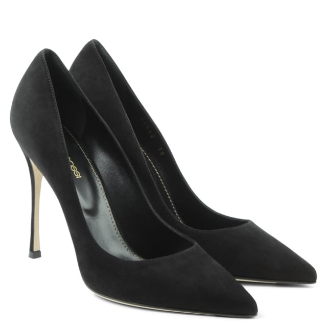 Sergio Rossi Black Suede Godiva 105 Pointed Toe Court Shoe