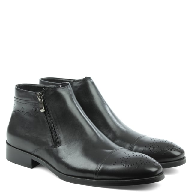 Daniel Petherton Back Leather Double Zip Ankle Boot