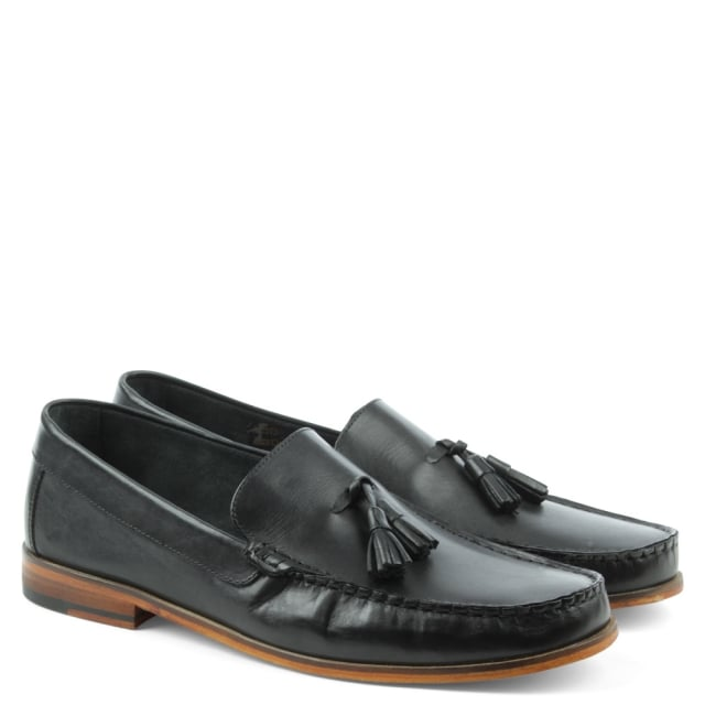 Gucinari Black Leather Slip On Tassel Loafer