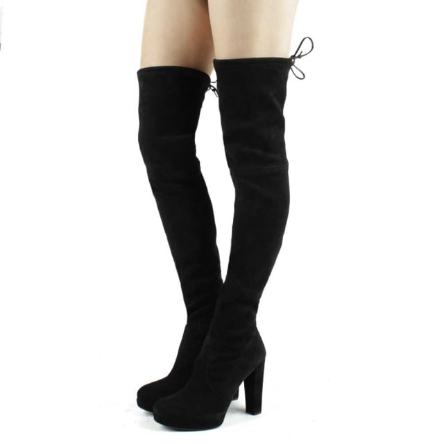 Stuart Weitzman Plathighland Black Suede Over The Knee Boot