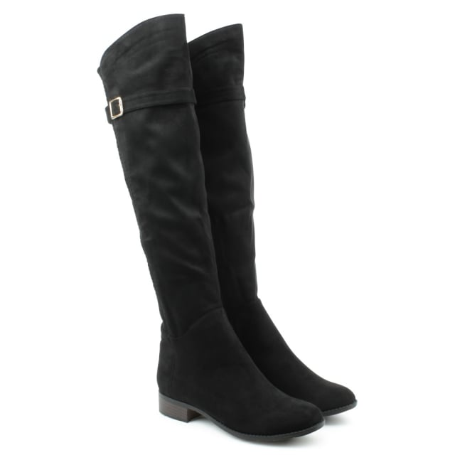 DF By Daniel Denali Black Faux Suede Stretch Lattice Over Knee Boot