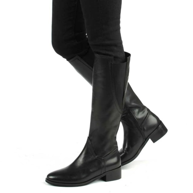 Daniel Georgette Black Suede Elasticated Panel Knee Boot