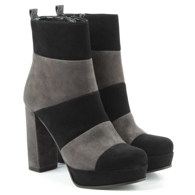 Kennel & Schmenger Striped Black & Grey Suede Platform Ankle Boot