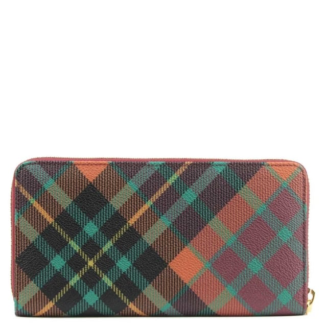 Vivienne Westwood Derby Zip Around Multicoloured Tartan Wallet