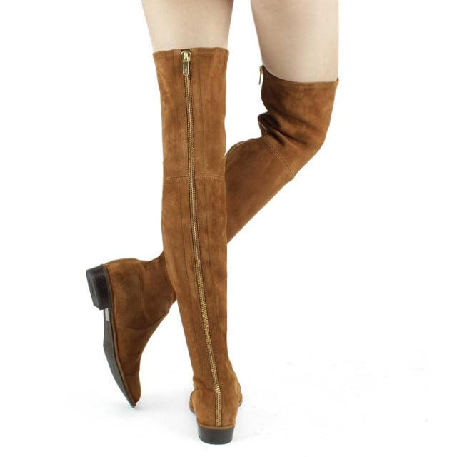 Stuart Weitzman Thighscraper Tan Suede Gold Zip Over The Knee Boot