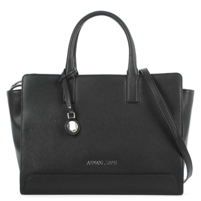 Armani Jeans Winged Black Grab Handle Shopper