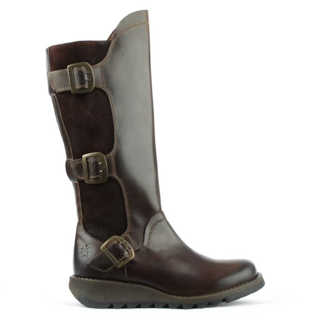 Fly London Synd Brown Leather Low Wedge Knee Boot