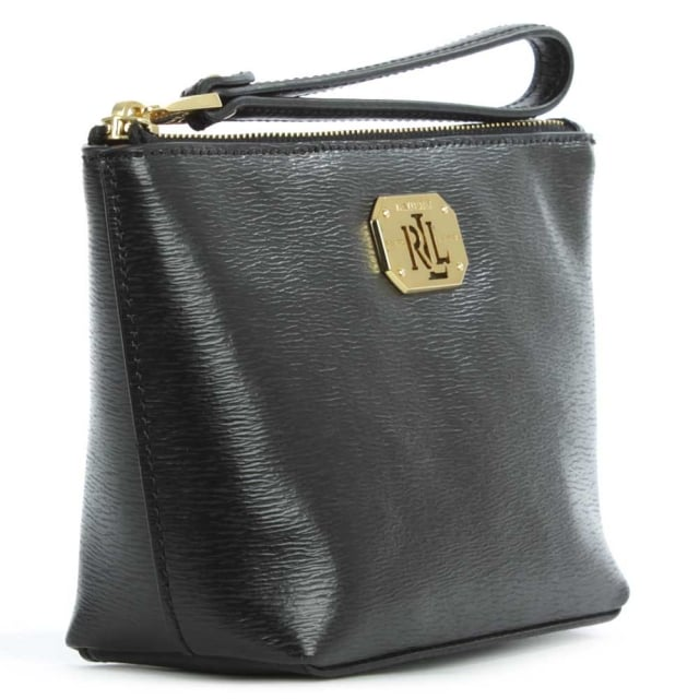 Lauren by Ralph Lauren Newbury Wristlet Black Leather Wrist-Let Cosmetic Pouch