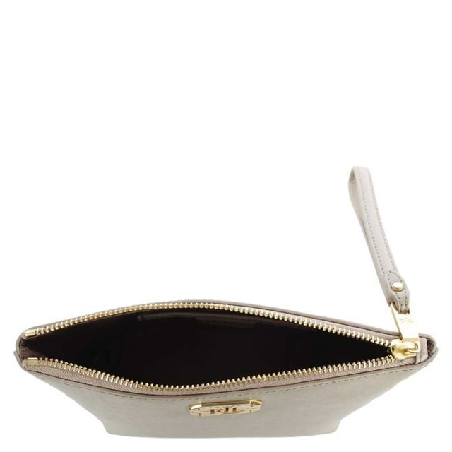 Lauren by Ralph Lauren Newbury Wristlet Taupe Leather Wrist-Let Cosmetic Pouch