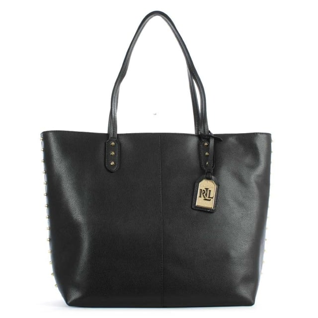 Lauren by Ralph Lauren Dixon Teena Black Leather Studded Tote Bag