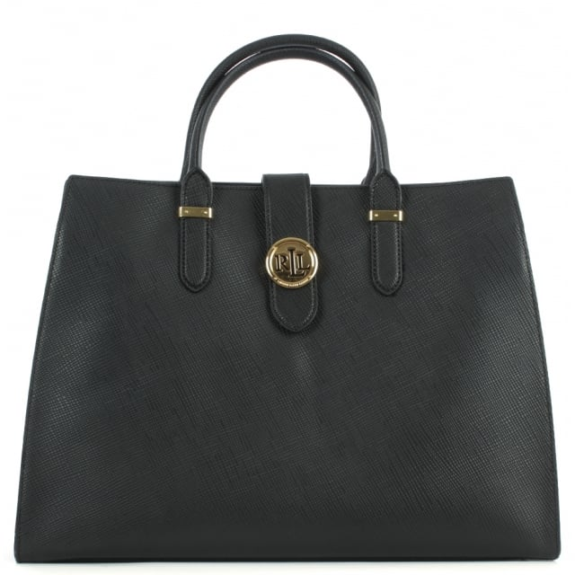 Lauren by Ralph Lauren Charleston Saffiano Black Leather Tote Bag