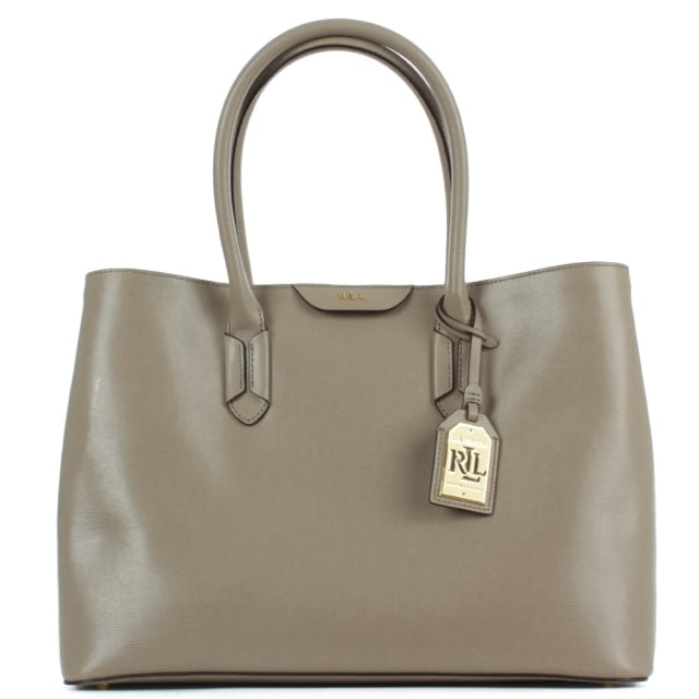Lauren by Ralph Lauren Tate City Tote Taupe Leather Bag