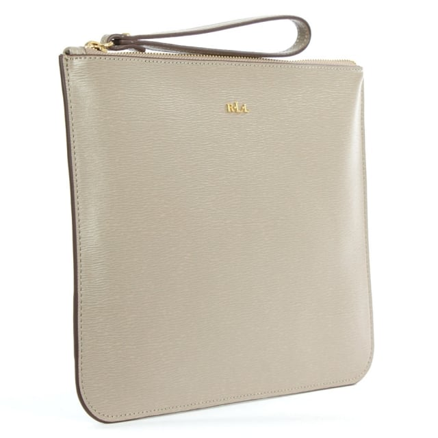 Lauren by Ralph Lauren Tate Everything Taupe Leather Pouch
