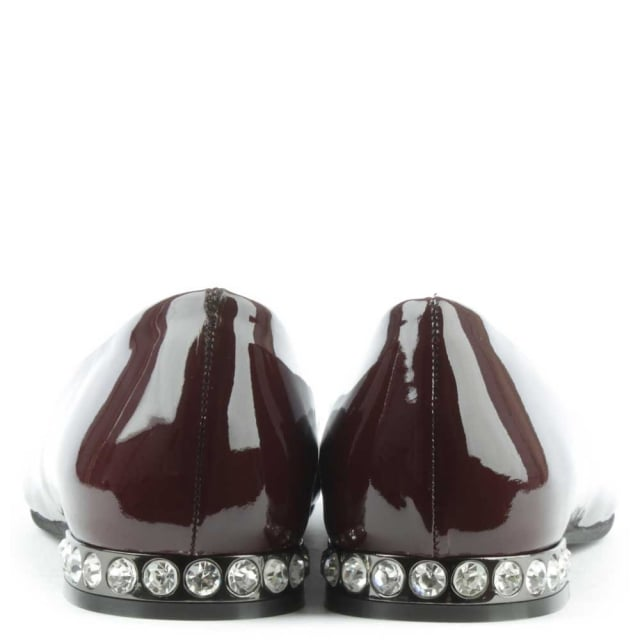 Daniel Blanche Burgundy Patent Leather Crystal Embellished Ballet Pump