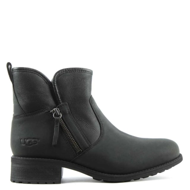 UGG Lavelle Black Leather Zipper Ankle Boot