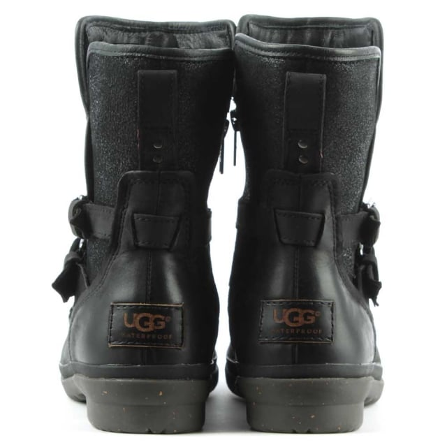 UGG Simmens Black Leather Strap & Buckle Boot