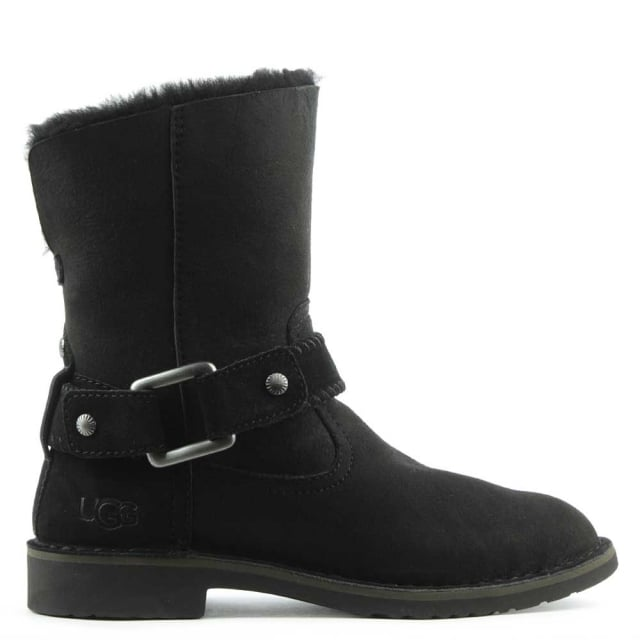 UGG Cedric Black Leather Twinface Cuffed Ankle Boot